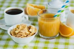 Filiżanka kawy, muesli i sok pomarańczowy, Zdjęcie Royalty Free