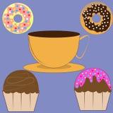 Filiżanka kawy, muffins i donuts, royalty ilustracja