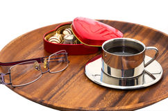 Filiżanka kawy, oczu szkła, zakończenie obrazy royalty free