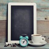 Filiżanka kawy z blackboard fotografia stock