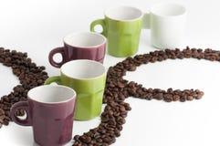 Filiżanka kawy z fasolami fotografia royalty free