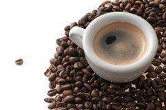 Filiżanka kawy z fasolami obraz royalty free