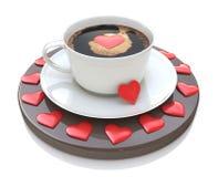 Filiżanka kawy z kierowym symbolem - walentynka dzień pocałunek miłości człowieka koncepcja kobieta Fotografia Royalty Free