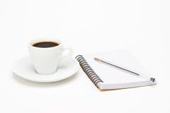 Filiżanka kawy z notatnikiem Obraz Royalty Free