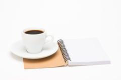 Filiżanka kawy z notatnikiem Fotografia Stock