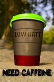 Filiżanka kawy z szyldowego ` BATT NISKI ` zdjęcie royalty free