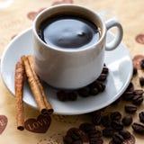 Filiżanka naturalne kawowe fasole i cynamon fotografia royalty free