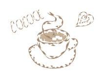 Filiżanka rysująca konturem gorący kakao Fotografia Royalty Free