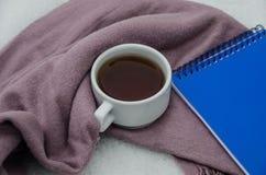 Filiżanka wyśmienicie herbata zawijają w szaliku i notatniku zdjęcia royalty free
