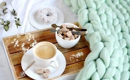 Filiżanka z cappuccino, doughnutt, zielona pastelowa gigantyczna szkocka krata fotografia royalty free