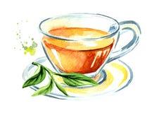 Filiżanka z herbatą z zielona herbata liśćmi Akwareli ręka rysująca ilustracja, odizolowywająca na białym tle ilustracji