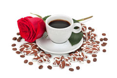 Filiżanka z kawą i ciastkami obraz royalty free