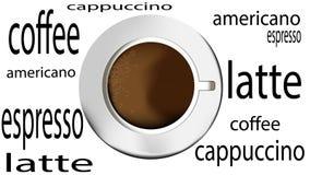 filiżanka z kawą, odgórny widok Zdjęcie Stock
