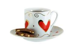 Filiżanka z obrazkiem serce z słodkim deserem, Fotografia Stock