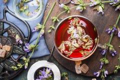 Filiżanka ziołowa herbata z świeżymi ziele i starzejącym się rocznik herbaty setem, odgórny widok, zakończenie up Zdjęcie Royalty Free