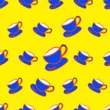 Filiżanki bezszwowa deseniowa wektorowa ilustracja dla dla tkaniny, płótno, pakunek, ściana, dekoracja, meble, drukowi środki royalty ilustracja
