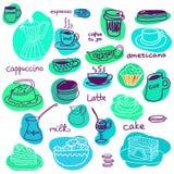 Filiżanki i cukierków torty ustawiający macaroons i Zdjęcia Royalty Free