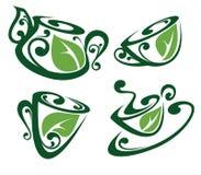 Filiżanki i herbata garnki pełno organicznie napoje Fotografia Royalty Free