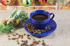 Filiżanki kawy i jedliny gałąź Obraz Stock