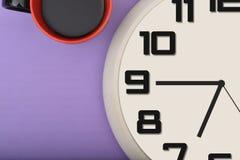 Filiżanki Kawy & zegaru zbliżenie z copyspace Fotografia Royalty Free