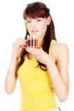 filiżanki mienia herbaty kobieta zdjęcie royalty free