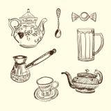 filiżanki przyrządów kuchni łyżki cukierki teapot Fotografia Stock