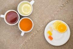 Filiżanki z różnymi typ herbata Obraz Stock