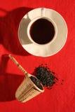 filiżanki zielarski liść miarki t herbaty wicker Fotografia Stock