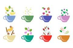 Filiżanki ziołowej herbaty setu, owoc i jagody herbaciane wektorowe ilustracje na białym tle, Fotografia Royalty Free