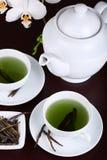 filiżanka biel zielony storczykowy herbaciany Obrazy Royalty Free