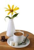 Filiżanka Czekolada cukier i kwiat, Obraz Royalty Free