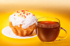 Filiżanka herbata i tort Obraz Stock