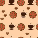 Filiżanka herbata z ciastka na pastelowym tle ilustracji