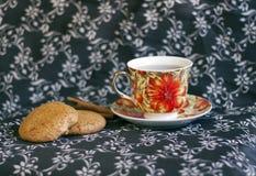 Filiżanka herbaty i oatmeal ciastka Fotografia Stock