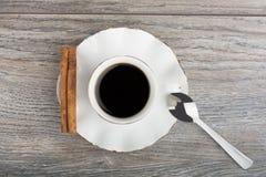 Filiżanka kawa espresso Odgórny widok obraz royalty free
