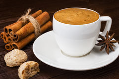 Filiżanka kawa espresso z cinamon Obrazy Stock