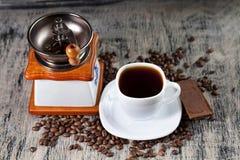 Filiżanka kawy i czekolada Obrazy Royalty Free
