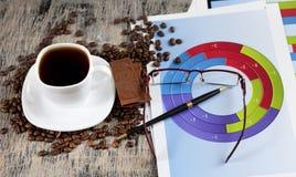 Filiżanka kawy i czekolada Fotografia Royalty Free