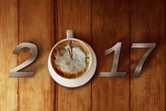 Filiżanka kawy i 2017 liczb Obraz Stock