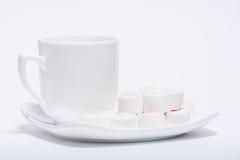 Filiżanka Kawy i menchii marshmallow Zdjęcie Royalty Free