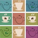 Filiżanka kawy i zielona herbata Zdjęcie Royalty Free