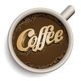 Filiżanka kawy z Kawowym tekstem. Zdjęcia Royalty Free