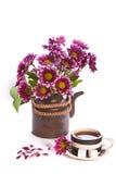 filiżanka kwitnie herbacianego teapot Zdjęcie Stock