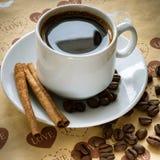 Fili?anka naturalne kawowe fasole i cynamon zdjęcie stock