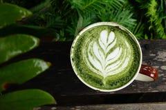 Filiżanka zielonej herbaty matcha latte Obraz Stock