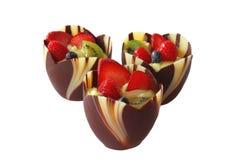 filiżanki czekoladowa owoc Fotografia Royalty Free