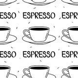fili?anki deseniuj? bezszwowego Czarny i biały tło, kawa espresso ilustracja wektor