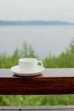 Filiżanki kawy drewno Zdjęcia Stock