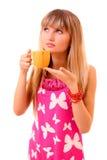 filiżanki napoju odosobneni herbaciani kobiety potomstwa Zdjęcie Stock
