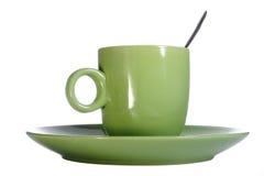 filiżanki zieleni talerz Zdjęcie Royalty Free